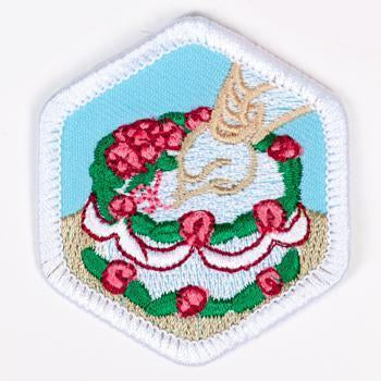 Cake Decorating Badge White-Pi/pa 4140 Badges