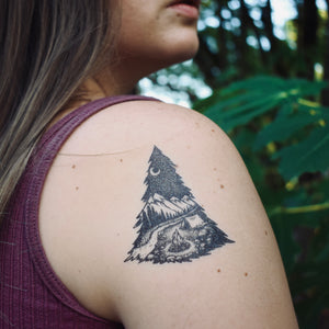 Mountain Camping Temporary Tattoo