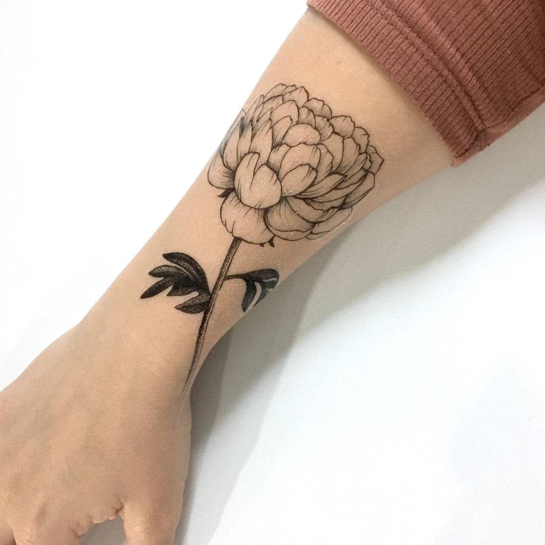 Peony Flower Temporary Tattoo