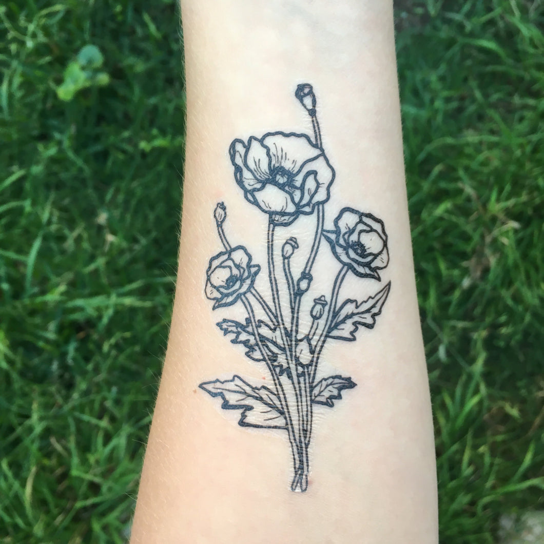 Poppy Cluster Floral Temporary Tattoo, Botanical Tattoo, Black Ink Tattoo, Nature Tattoo