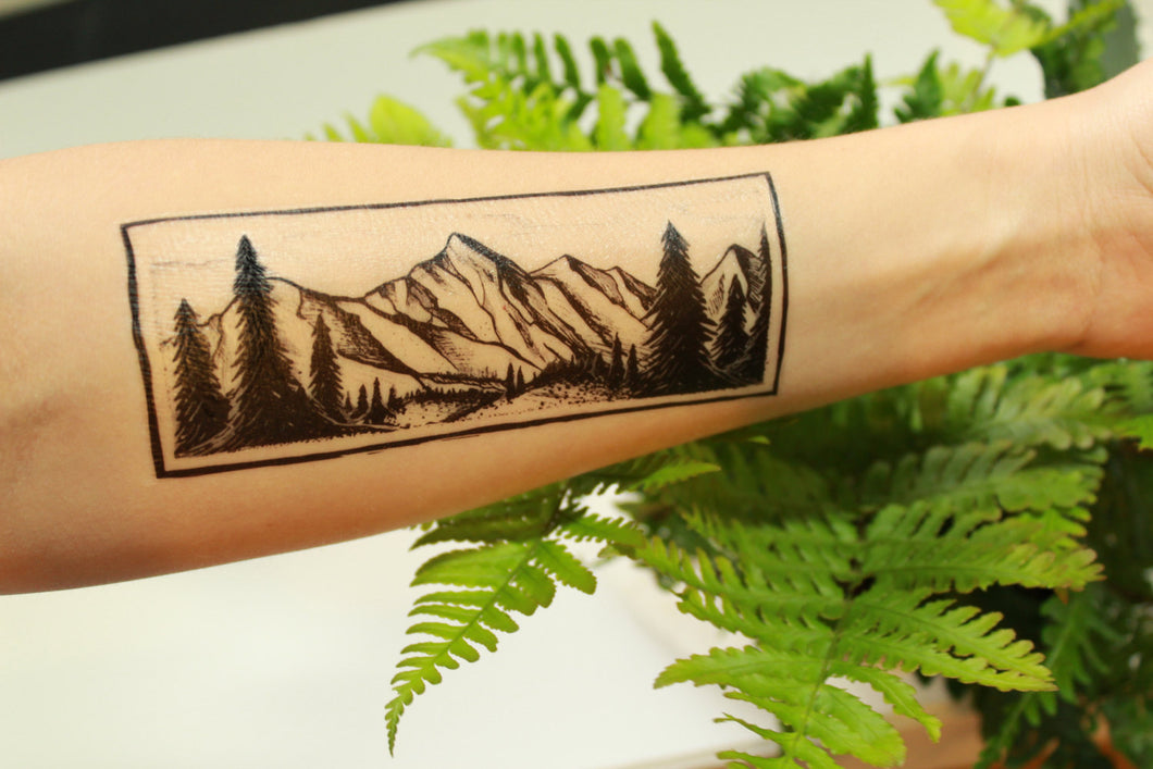 Rectangle Mountain & Pine Forest Scene, Temporary Tattoo, Black Line, Nature Tattoo