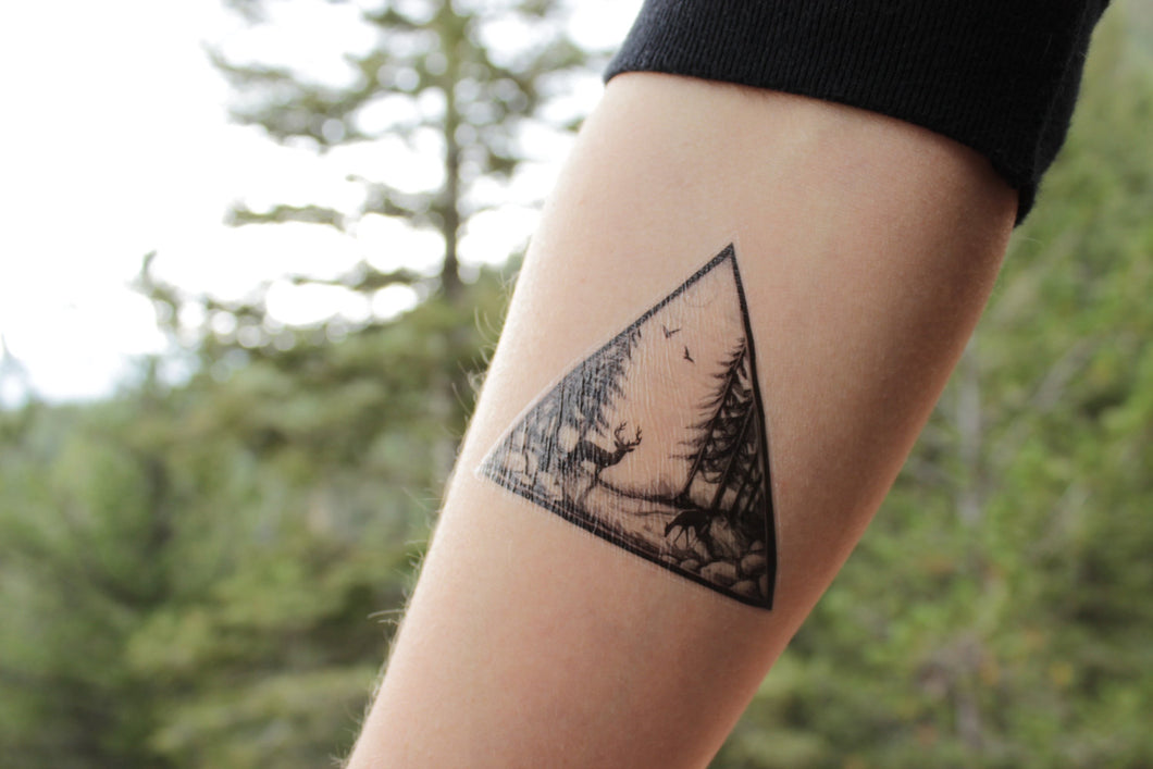 Deer In The Forest Triangle Scene Temporary Tattoo, Pine Trees and Birds In the Sky, Black Ink Nature Tattoo,