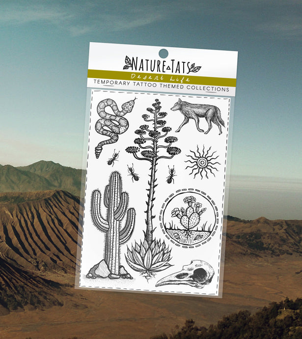 Desert Life Temporary Tattoo Themed Collection, Original Designs, Saguaro Cactus, Agave, Crow Bird Skull, Coyote, Rattle Snake, Ants, Sun