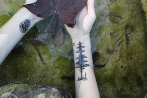 Forest Pine Tree & Saplings Temporary Tattoo, Forest Scene, Nature Tattoo