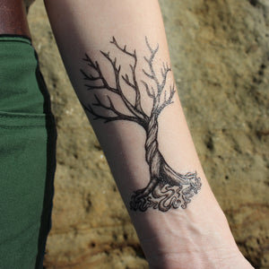 Twisted Tree & Roots Temporary Tattoo, Dead Winter Tree, Spiral Tree With Wound Up Roots, Nature Tattoo