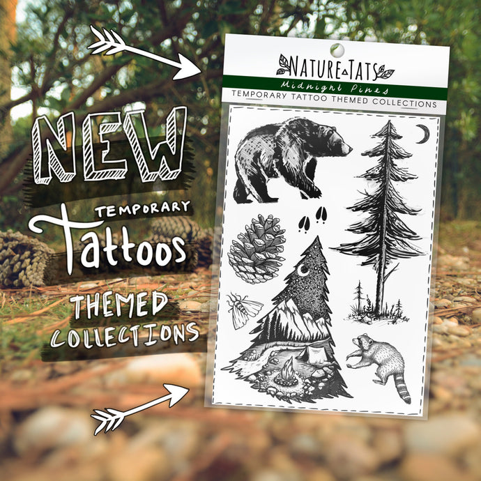 Midnight Pines Themed Collection ~ Original Temporary Tattoo Designs, Bear, Pine Tree & Saplings, Pinecone, Raccoon, Moth, Deer Tracks, Moon