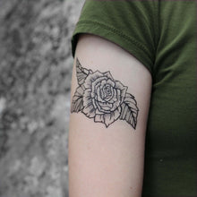 Rose Bloom Temporary Tattoo, Black Ink Floral Tattoo Design, Botanical Drawing, Nature Tattoo