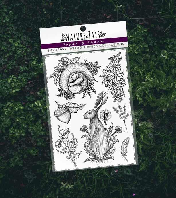 Flora & Fauna Temporary Tattoo Themed Collection, Original Designs, Hare, Squirrel, Dandelion, Daisies, Lavender, Acorn, Feather, Poppies