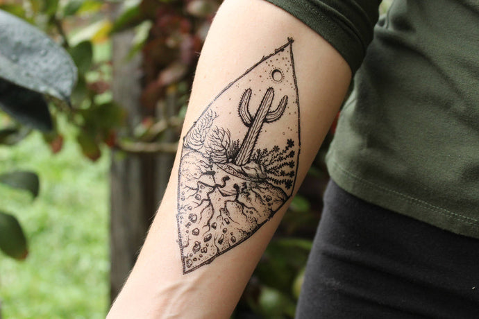 Saguaro Desert Scene Temporary Tattoo, Roots, Stones, Sun, Succulent Flowers, Black Line Drawing, Nature Tattoo