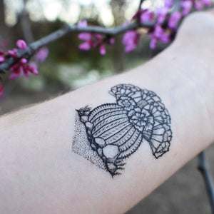 Barrel Cactus Blooming Temporary Tattoo, Desert Scene Succulent Plants, Black Line Drawing, Nature Tattoo