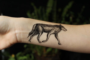 Coyote Temporary Tattoo, Black Ink Wild Dog, Animal in Nature Tattoo