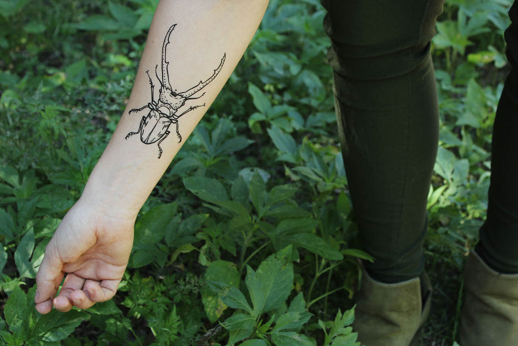 Stag Beetle Temporary Tattoo, Black Line Tattoo, Insect, Bug Tattoo