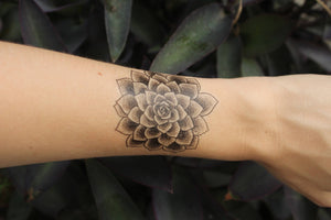 Succulent Rosette Temporary Tattoo, Desert Succulent Plants, Black Line Drawing, Nature Tattoo