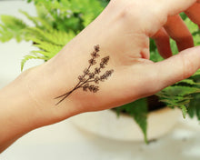 Lavender Twigs Temporary Tattoo, Collection of 2, Black Ink Tattoo Design, Botanical Drawing, Nature Tattoo