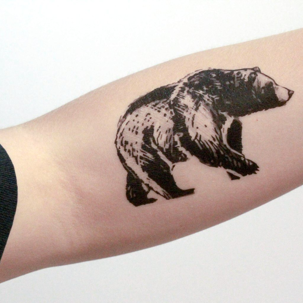 Bear Temporary Tattoo, Black Ink, Forest Animal Tattoo, Nature Tattoo