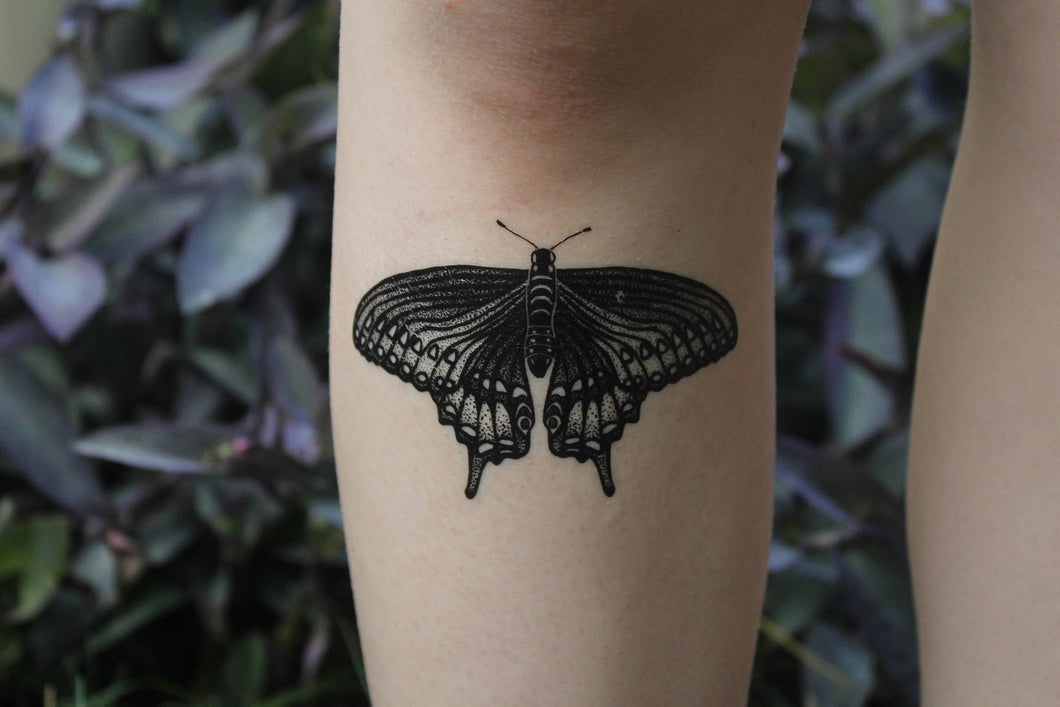 Black Swallowtail Butterfly Temporary Tattoo, Black Line Tattoo, Winged Insect, Bug Tattoo, Symmetrical Tattoo