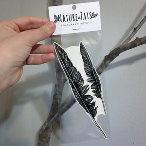 Crow Feather Temporary Tattoo, Double Pack, Dark Black Raven or Grackle Bird Feather Tattoo, Nature Tattoo (comes with 2 feathers!)