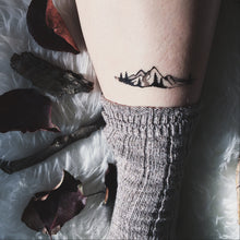 Mountain Range & Pine Trees, Temporary Tattoo, Black Line, Nature Tattoo