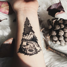 Mountain Camping, Pine Forest, Tent, Campfire, River Temporary Tattoo, Black Line, Nature Tattoo