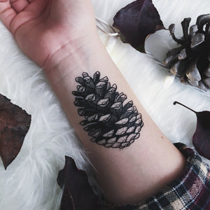 Pinecone Temporary Tattoo, Forest Findings, Pine Tree Seed Pod, Nature Tattoo