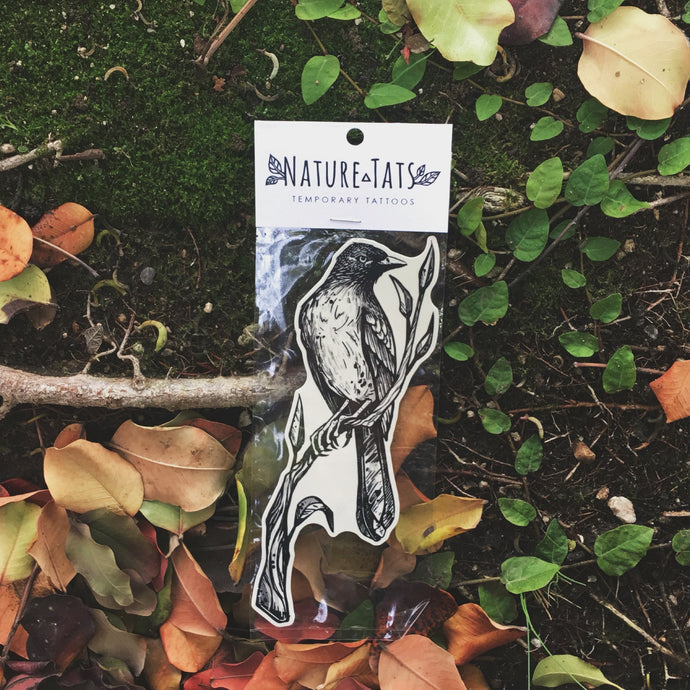Bird on a Branch Temporary Tattoo, Black Bird Resting on Leafy Twig, Black Line Hand Drawn Nature Tattoo
