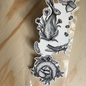Spring Animals Temporary Tattoos, Rabbit, Hare, Squirrel, Dandelion, Grasshopper, Lady Bugs, Acorn, Black Line Hand Drawn Nature Tattoo