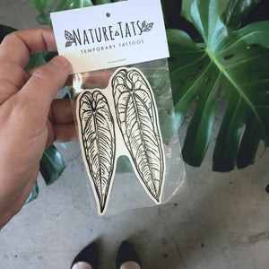 Anthurium Leaf Temporary Tattoo, Anthurium Warocqueanum, Tropical Nature Tattoo