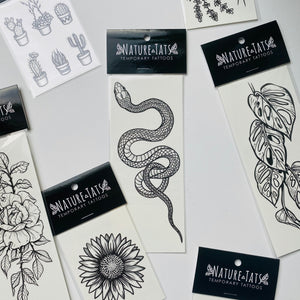 Garden Snake Temporary Tattoo, Garter Snake, Original Hand-Drawn Designs, Springtime Snake Tattoo, Snake Art, Fake Tattoo