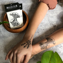 Chanterelle Mushroom Temporary Tattoo, Black Line Tattoo, Wild Mushroom Foraging Tattoo, Fungi Forager, Fungus, Nature Tattoo, Spring Tattoo
