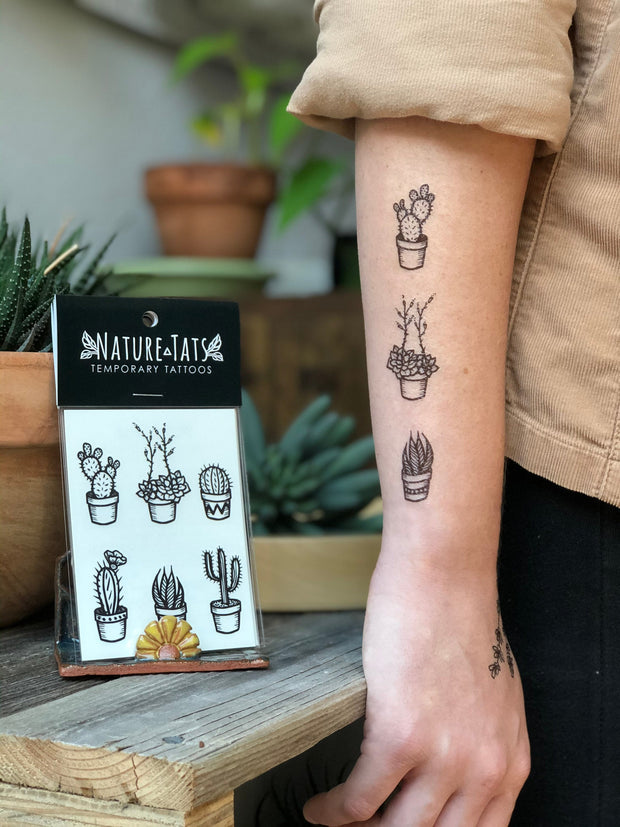 Potted Cactus Temporary Tattoos 1