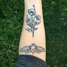 Cicada Temporary Tattoo, Black Line Tattoo, Insect, Bug Tattoo, Symmetrical Tattoo