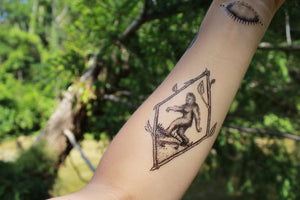 Sasquatch Temporary Tattoo, Bigfoot Framed in a Twig Diamond, Geometric Tattoo, Black and White