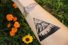 Triangle Mountain & Pine Forest Scene, Temporary Tattoo, Black Line, Nature Tattoo