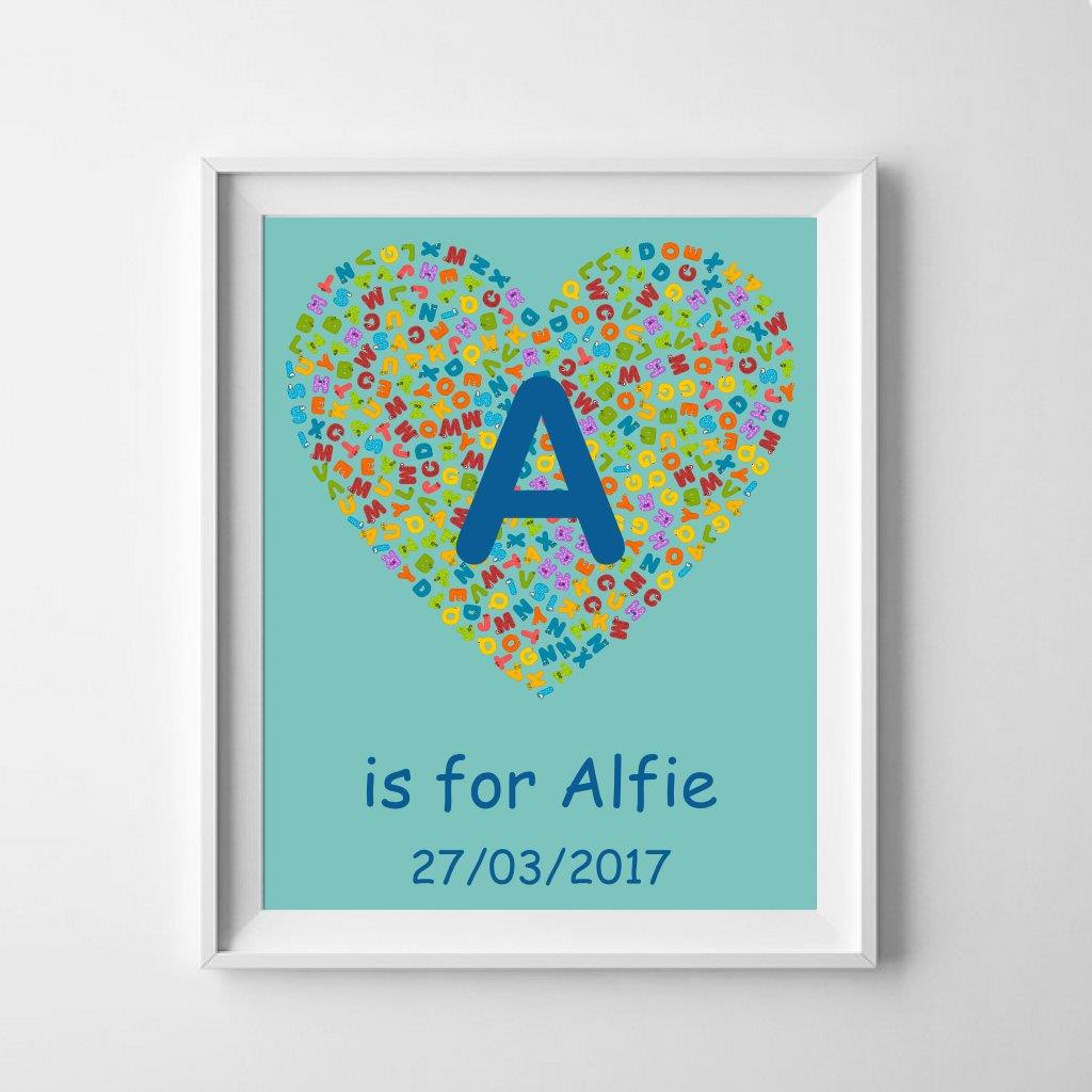 Personalised Poster - Heart Motif with Name