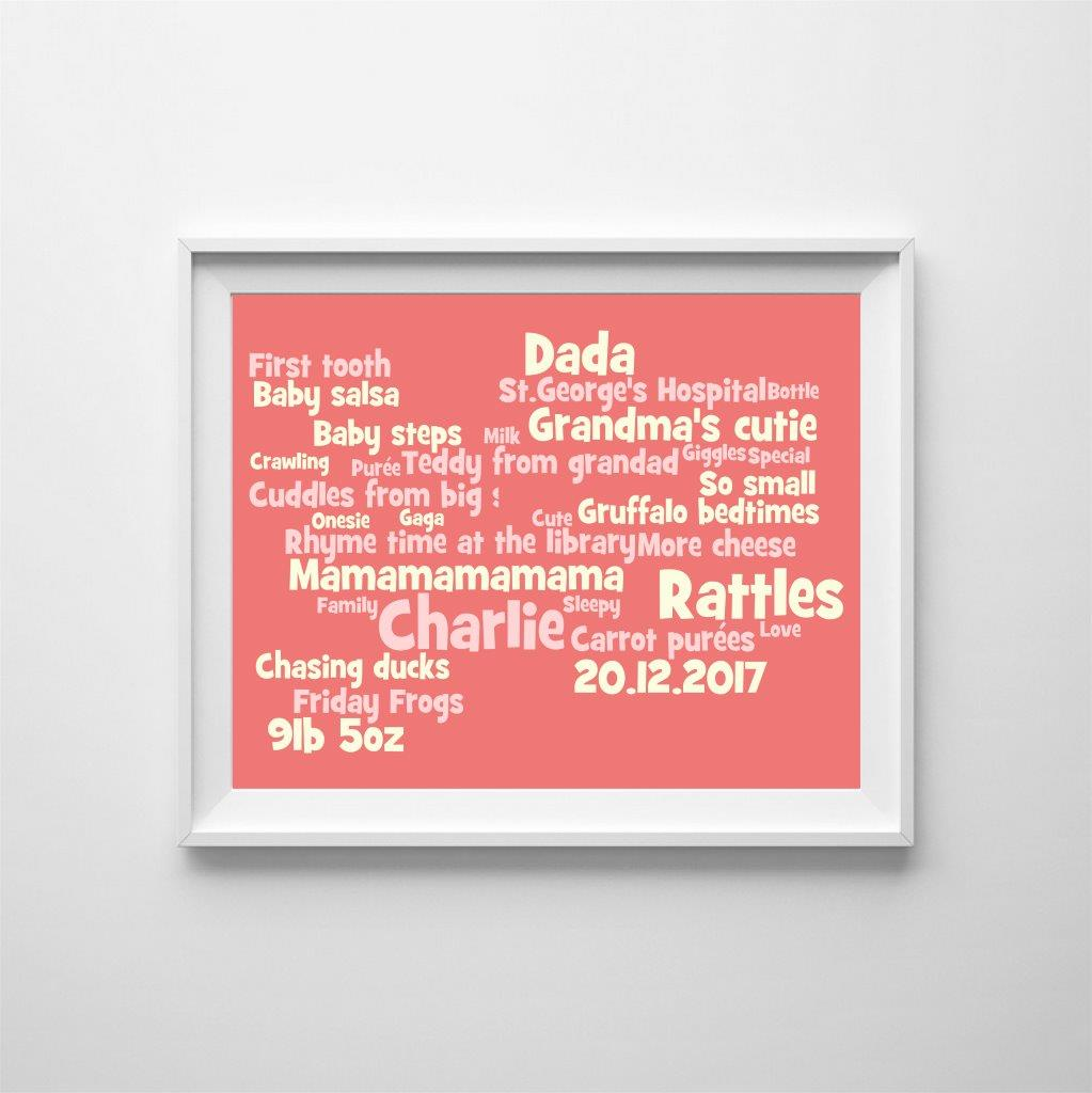 Personalised word cloud: baby's special moments