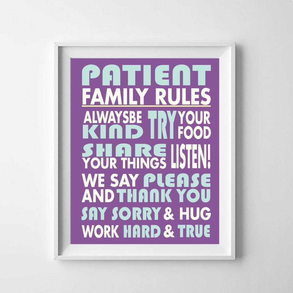 Family rules personalised print: typography
