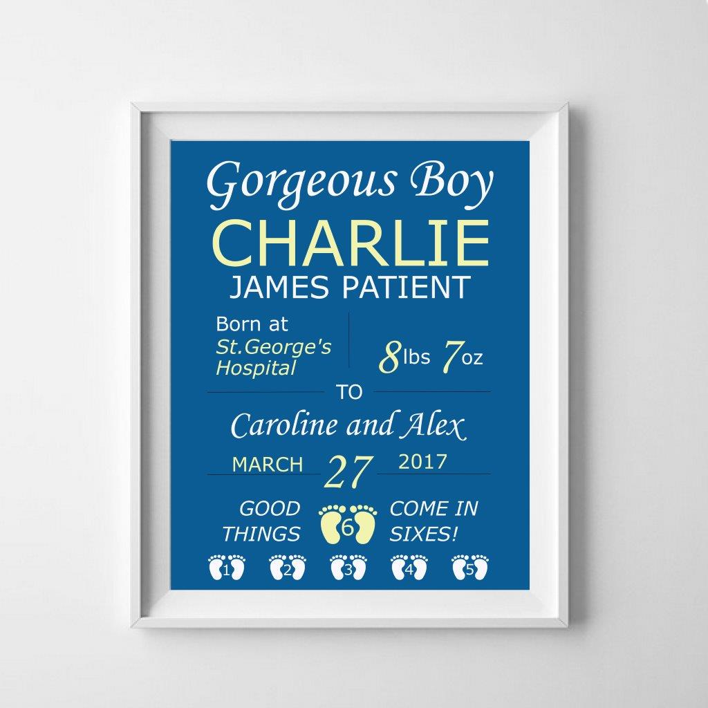 Personalised print: welcome to the world, gorgeous baby!