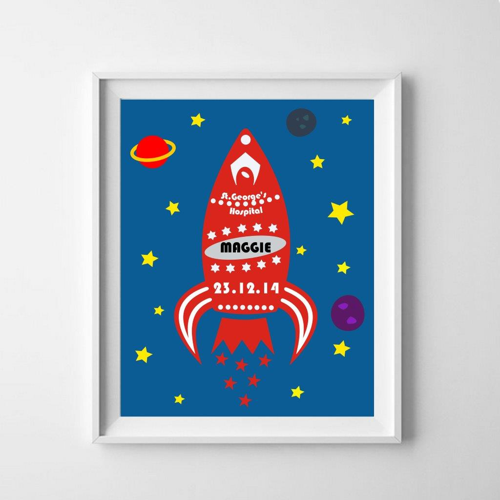 Personalise a rocket ship poster for the new baby