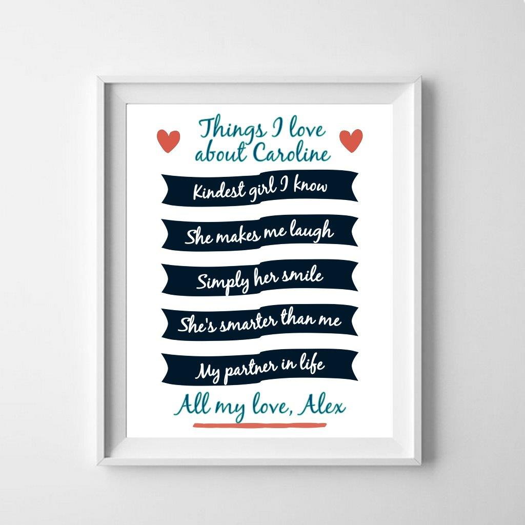 Personalised poster: things i love about you