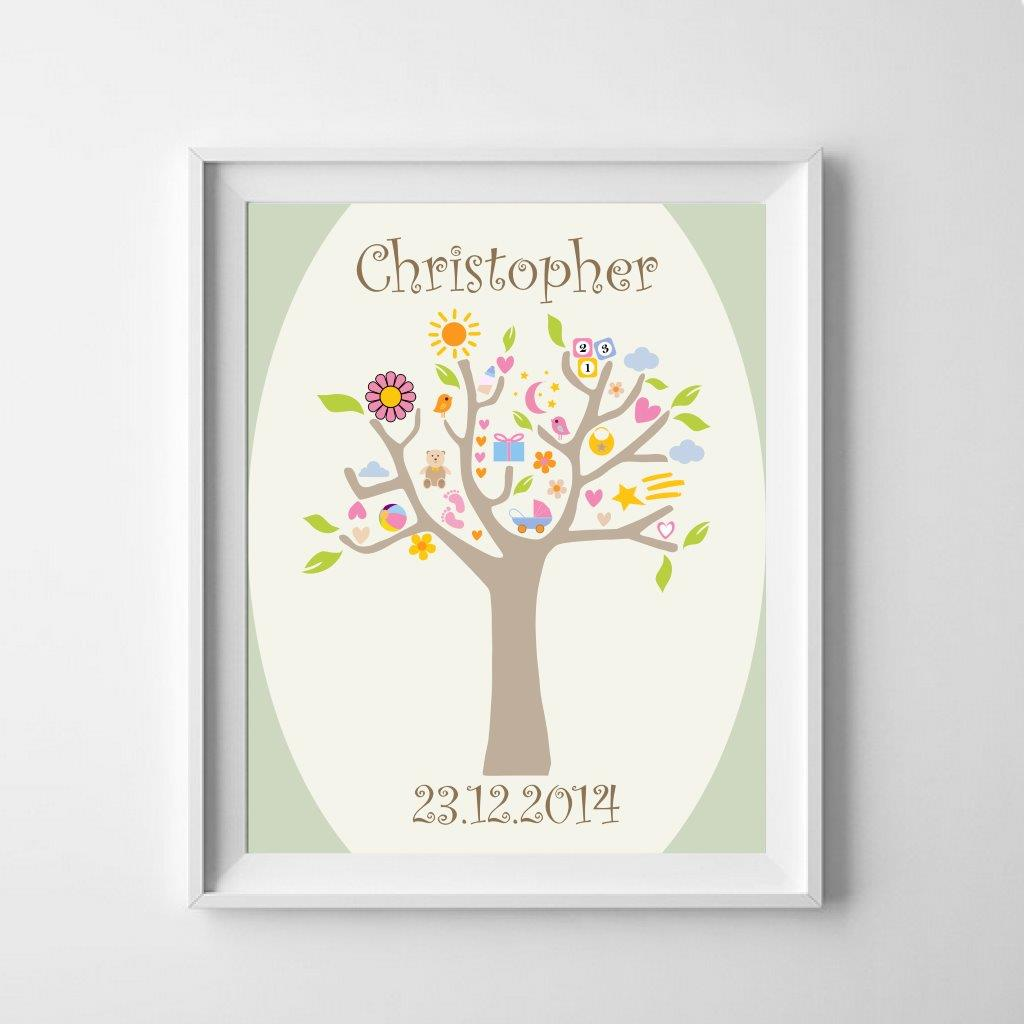 Personalised sweet tree poster to celebrate the new baby