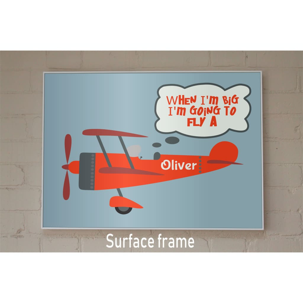 Big Dreams: Personalised Plane Poster For Your Kids And Babies - 11X14 / Surface Frame - Babies & Kids