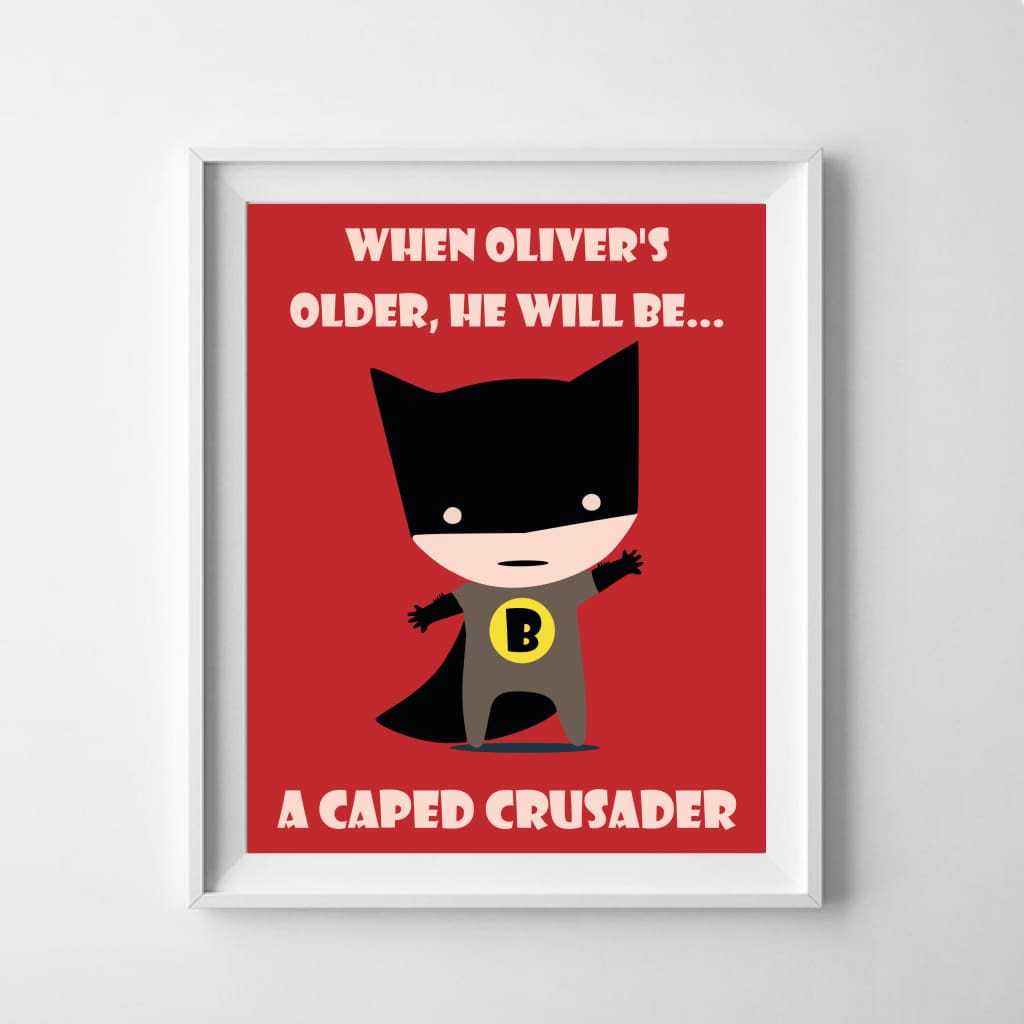 Caped Kid Personalised Poster - Babies & Kids