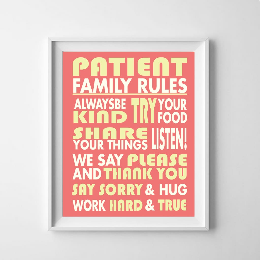 Family Rules Personalised Print: Typography - Home & Family
