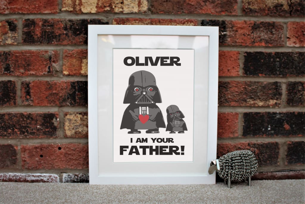 Father And Child - Robot Love - Grey / Classic frame / 11X14 In (28X35Cm) - Babies & Kids