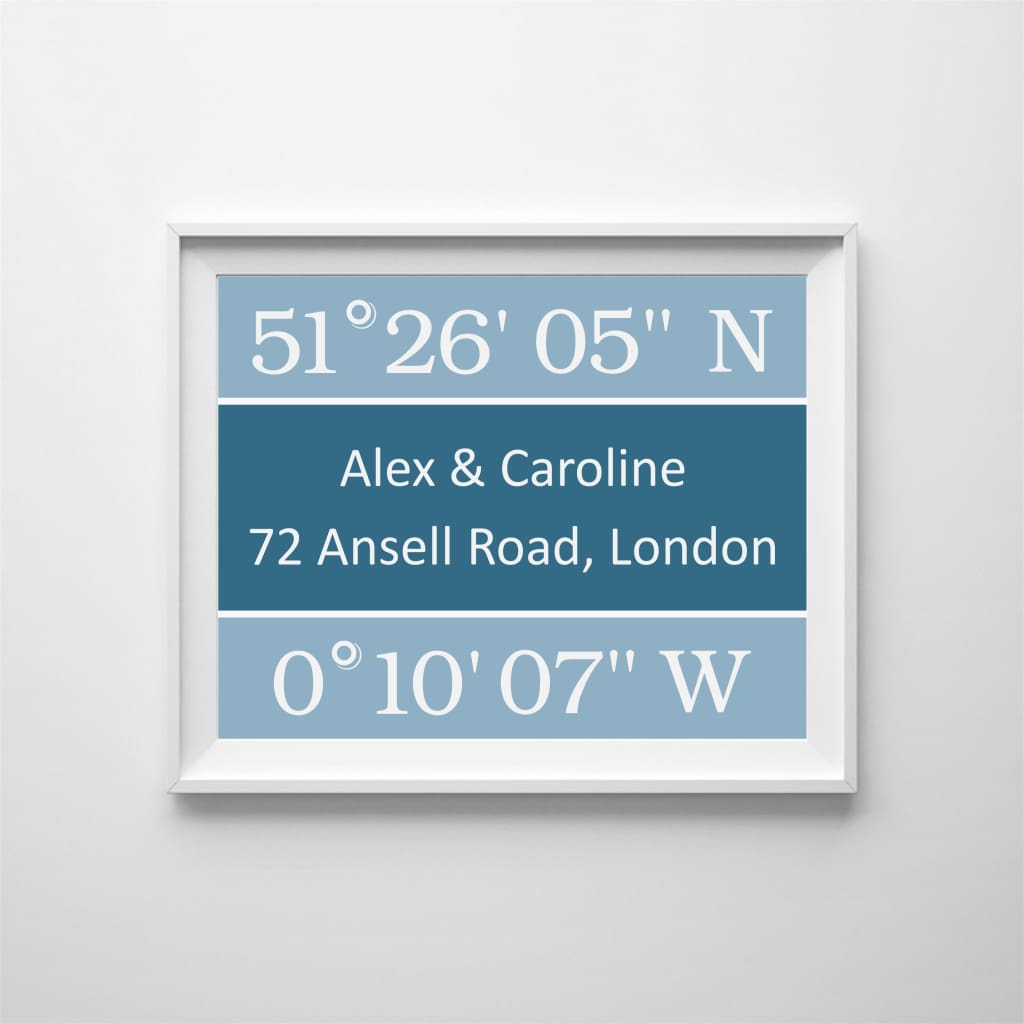 Personalised Coordinates To Celebrate A Special Time And Place - Home & Family