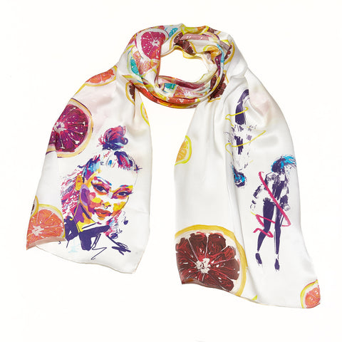 Blue Citrus Dancing silk scarf