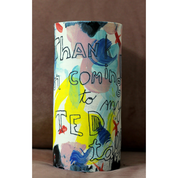 """Thank for coming to my TED talk"" Vase"