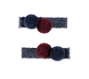 five/eleven Pompom Hairclips Burgundy - Eat Play Love