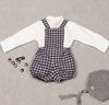 Paloma De La O Grey/Navy Check  Boy Playsuit/Overall 12m-3 years - Eat Play Love