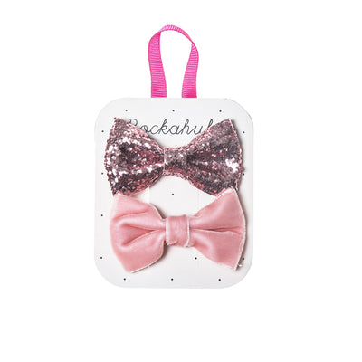 Rockahula Velvet and Glitter Bow Clip Set Pink - Eat Play Love